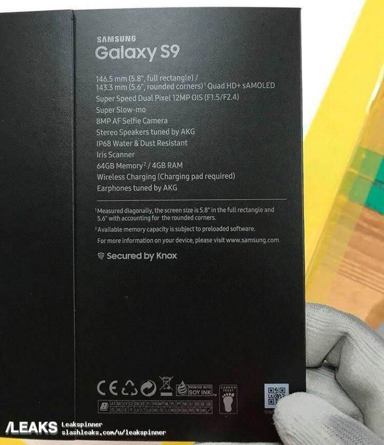 Samsung Galaxy S9 - caja -
