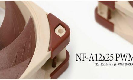 Noctua NF – A12x25 de 120 mm, adaptador 140 mm y redux NF-P12