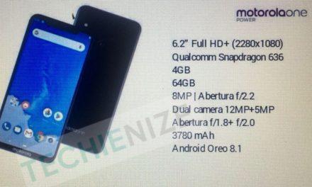 Fuga de especificaciones de Motorola One Power