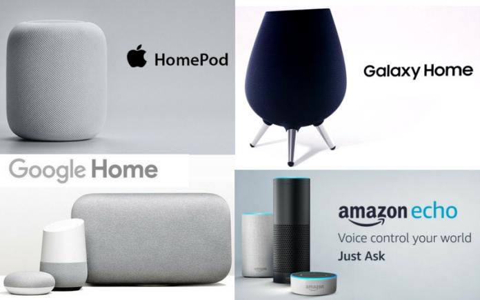 HomePod, Galaxy Home, Google Home y Amazon Echo