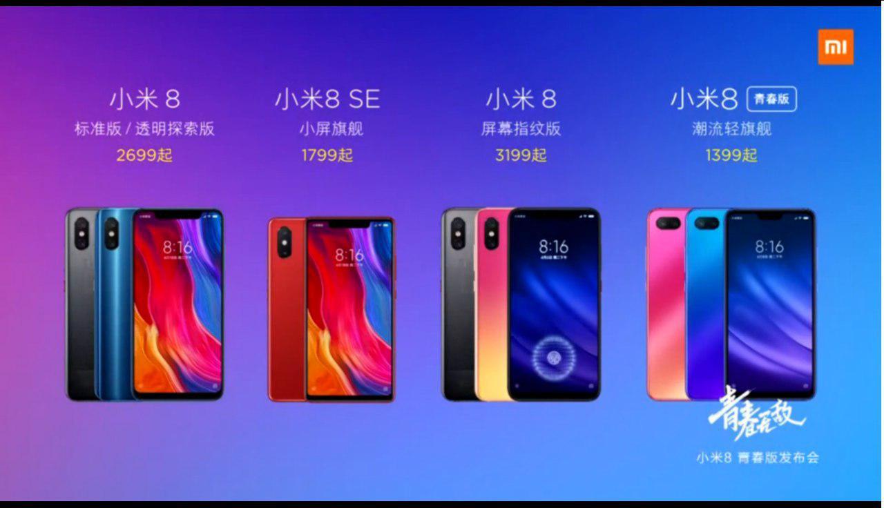 Xiaomi Mi 8 family
