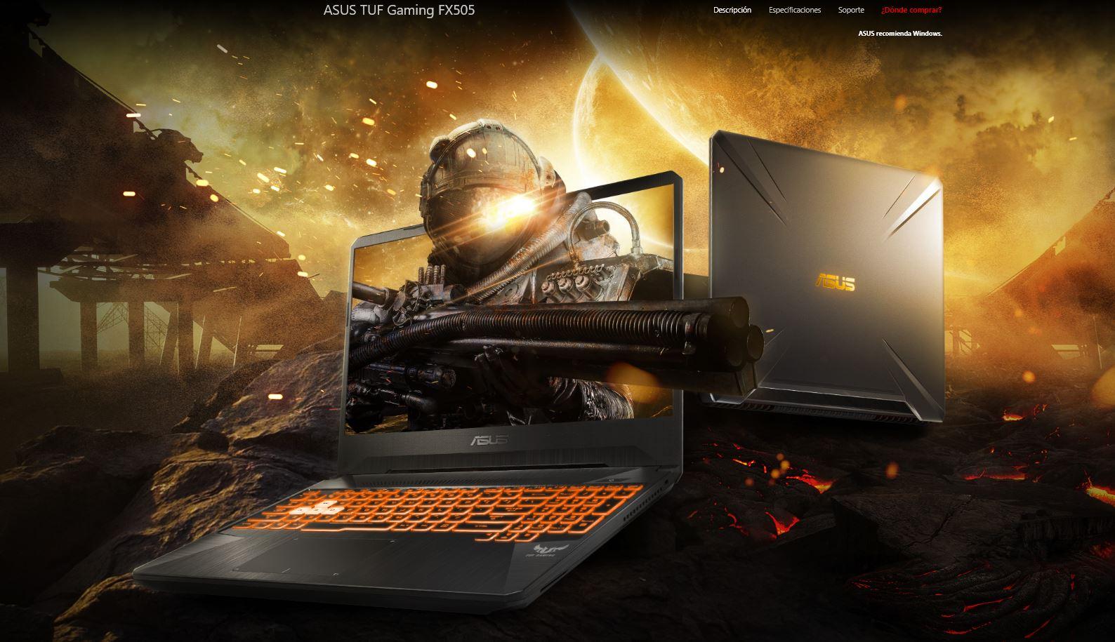 ASUS TUF Gaming FX505 y FX705 con procesadores AMD