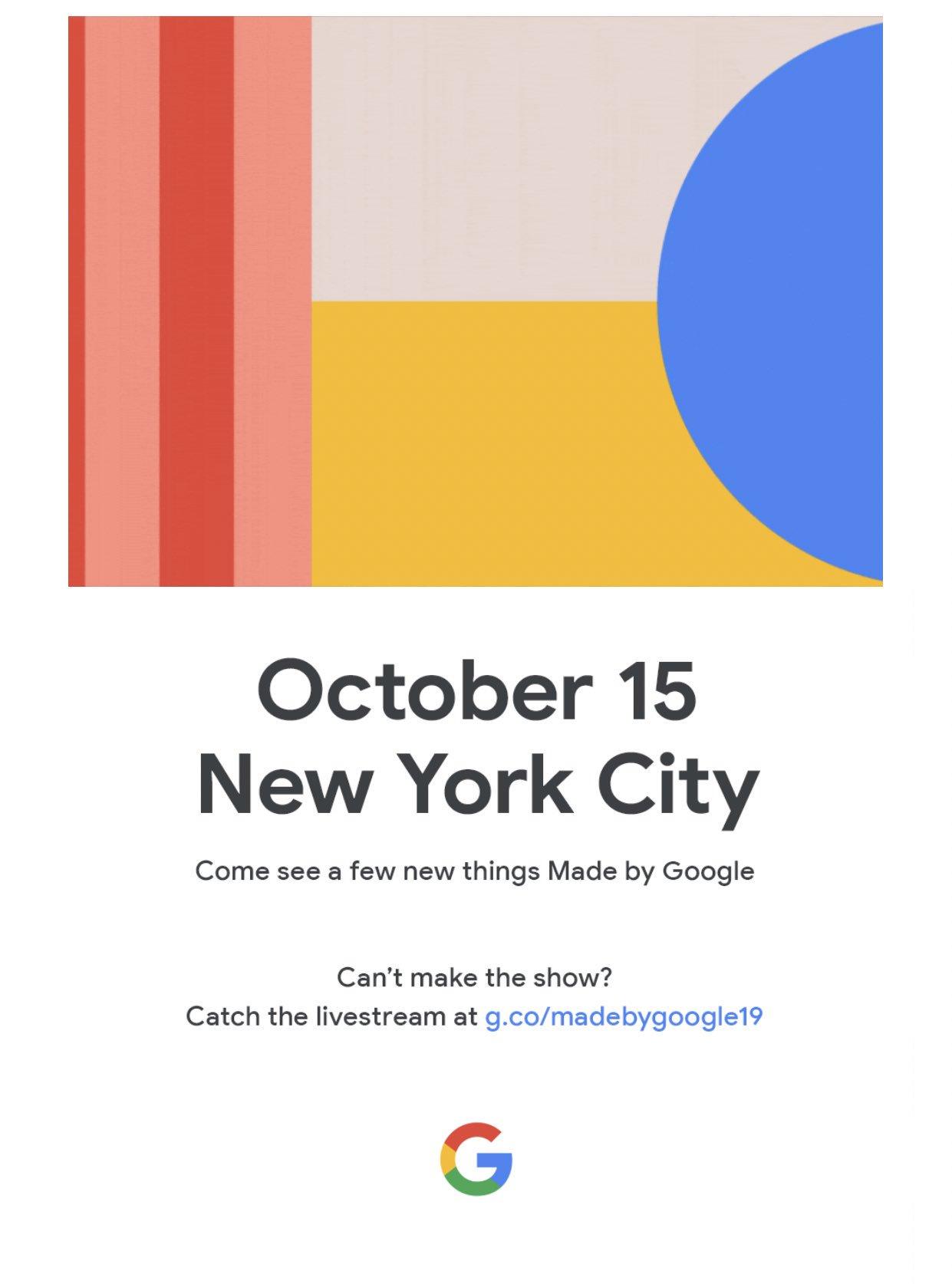 Google Pixel 4 presentado oficialmente el 15 de Octubre.