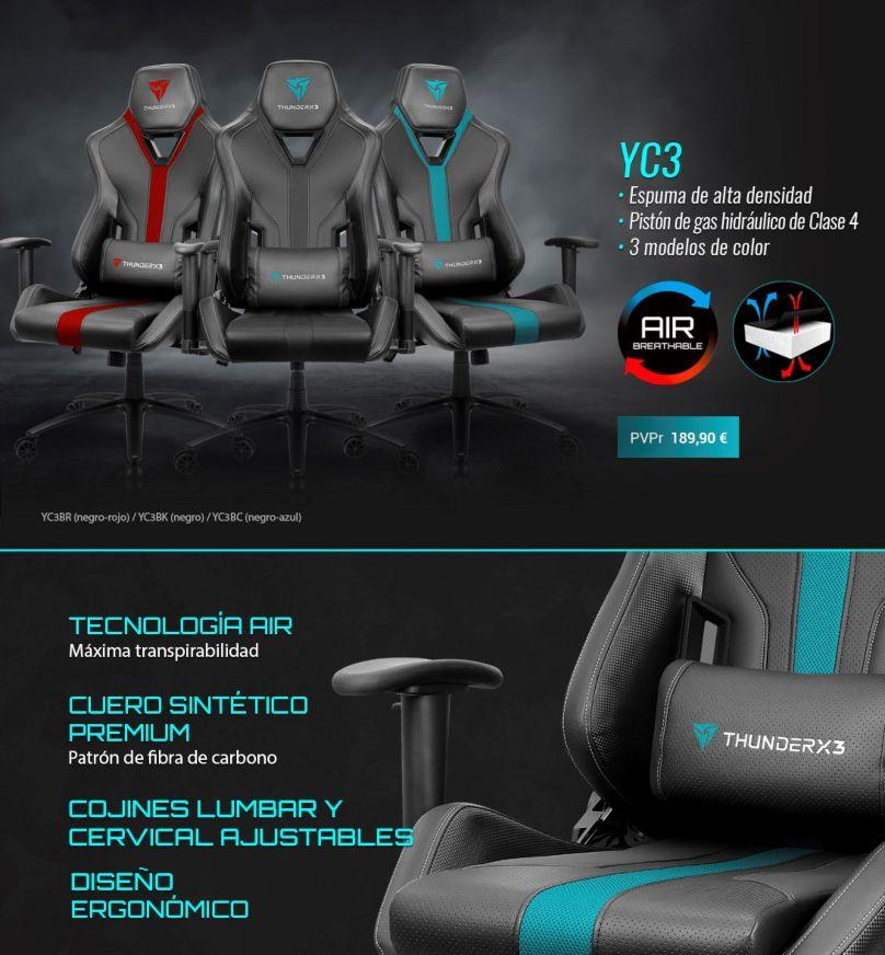 ThunderX3 YC3, minimalismo y ergonomía unidos en una silla gaming - tecnolocura