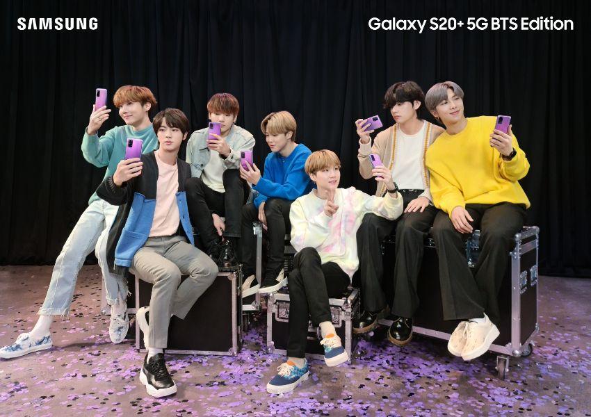 Galaxy S20+ BTS Edition y Galaxy Buds+ conexión púrpura entre fans
