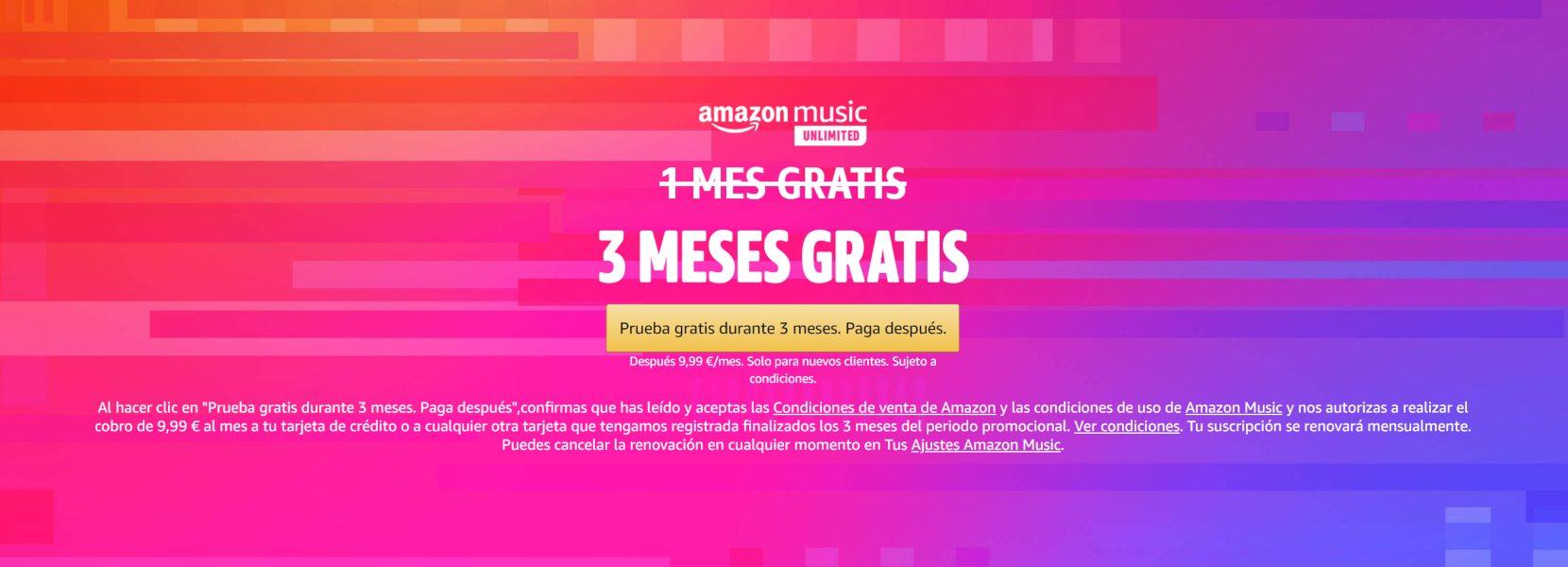 Amazon Music Unlimited GRATIS durante 3 meses