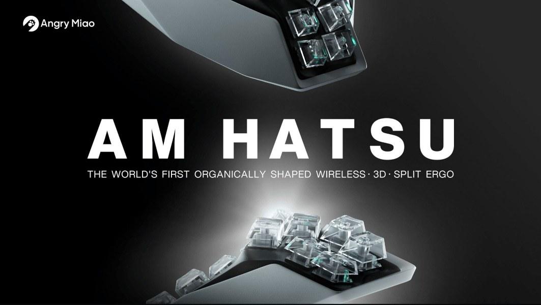 Angry Miao AM HATSU, el primer teclado dividido en 3D inalámbrico con forma orgánica del mundo