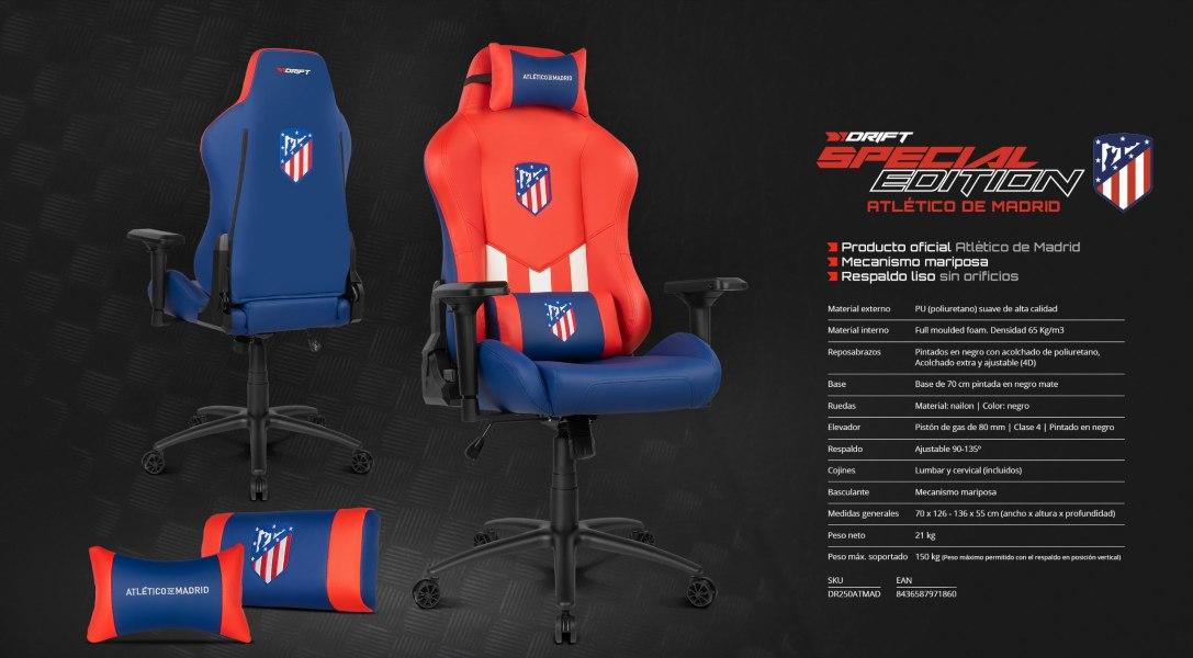 Silla gaming Edición Especial Atlético de Madrid by Drift